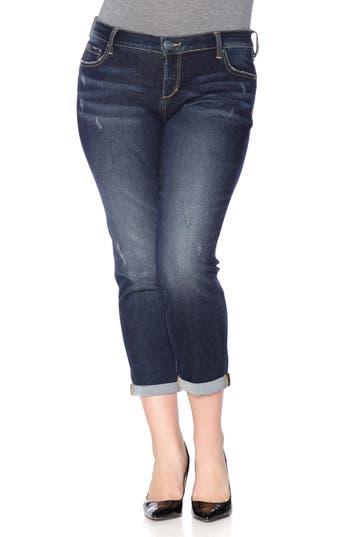 Plus Size Women's Slink Jeans Stretch Ankle Boyfriend Jeans, Size 14W - Blue