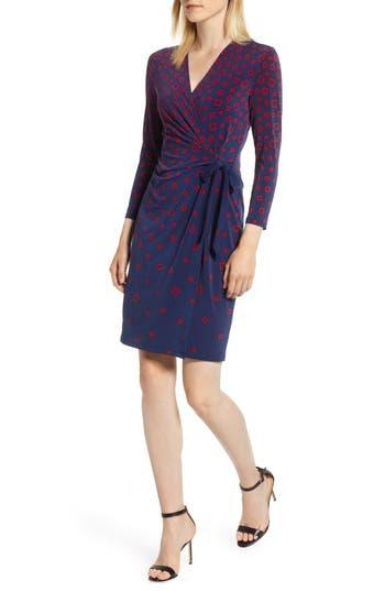 ANNE KLEIN TUMBLING SQUARES FAUX WRAP DRESS