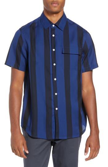 Men's Saturdays Nico Broad Stripe Woven Shirt, Size Small - Black