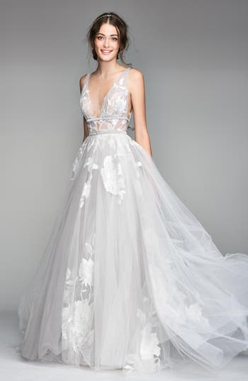 Willowby Galatea Embroidered V-Neck Tulle Wedding Dress
