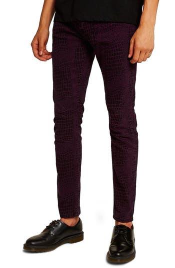 Topman Stretch Skinny Fit Croc Print Jeans