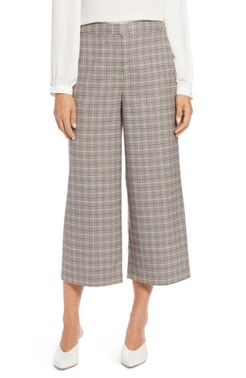 Halogen® Plaid Wide Leg Crop Pants