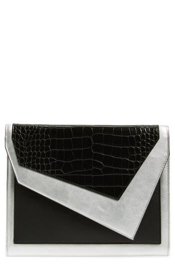 Leith Colorblock Faux Leather Envelope Clutch