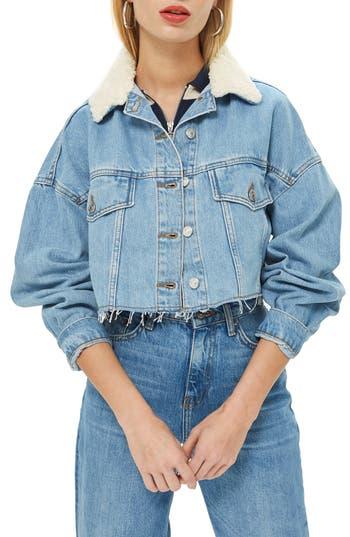 Topshop Borg Faux Fur Collar Hacked Denim Jacket