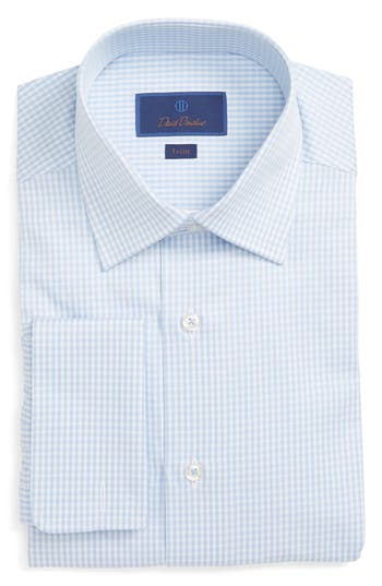 Men's David Donahue Trim Fit Check Dress Shirt, Size 15 - 32/33 - Blue