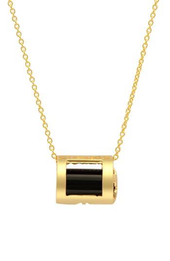 Congés Protection Black Tourmaline Barrel Pendant Necklace