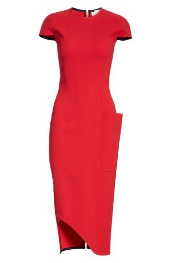Victoria Beckham Curved Hem Fitted Dress