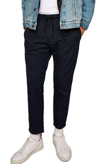 Topman Skinny Fit Crop Stripe Trousers