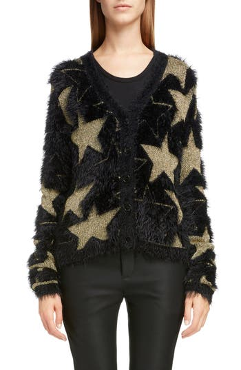 Saint Laurent Metallic Star Jacquard Eyelash Cardigan