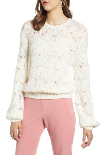 Halogen® Pointelle Balloon Sleeve Sweater
