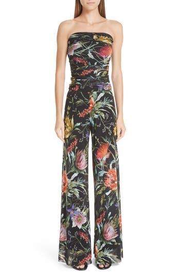 Fuzzi Floral Tulle Strapless Jumpsuit
