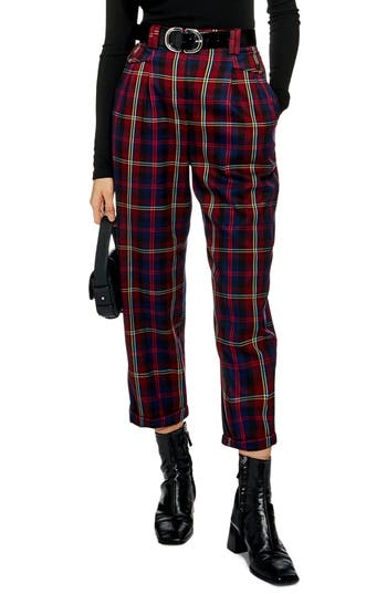 Topshop Check Peg Leg Trousers