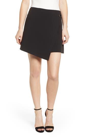 Prima Button Detail Asymmetrical Miniskirt