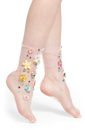 Lirika Matoshi Flower Tulle Crew Socks