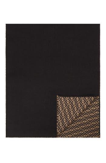 Fendi Logo Jacquard Double Faced Wool & Silk Scarf