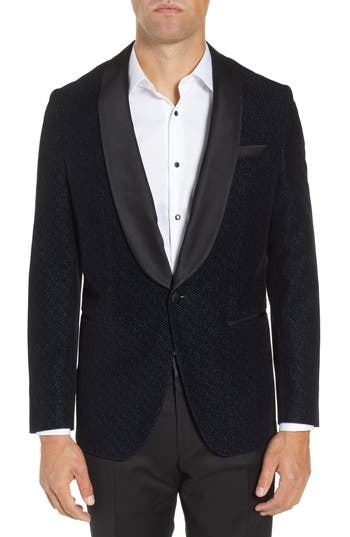 BOSS Hockley Slim Fit Herringbone Wool Blend Dinner Jacket