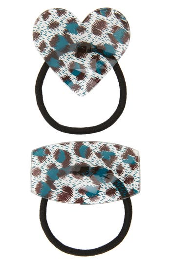 Igou Set of 2 Leopard Print Ponytail Holders