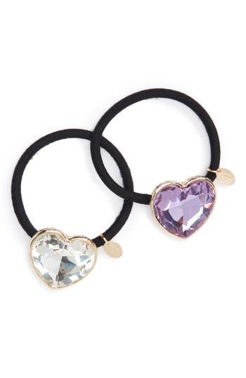 Cara Set of 2 Crystal Heart Ponytail Holders