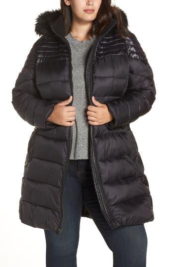 RACHEL Rachel Roy Faux Fur Detail Water Resistant Puffer Coat