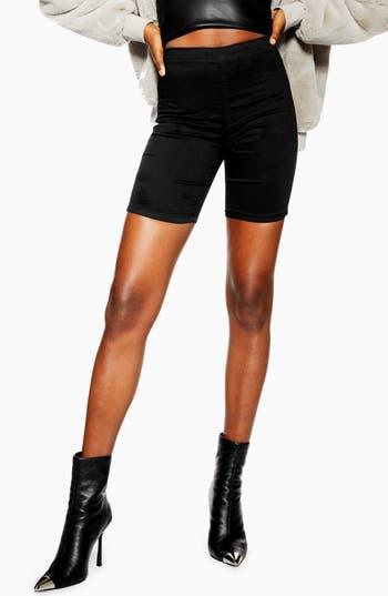 Topshop Flat Front Denim Cycle Shorts