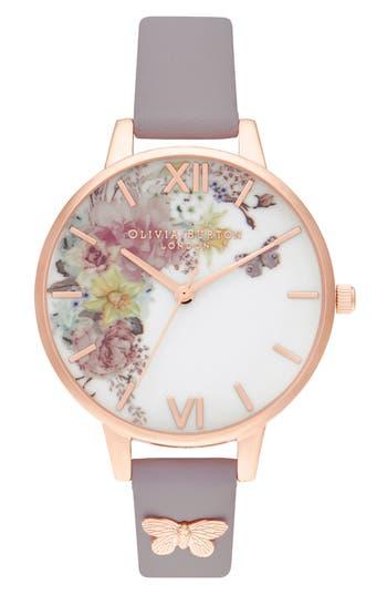 Olivia Burton Enchanted Garden Leather Strap Watch, 34mm