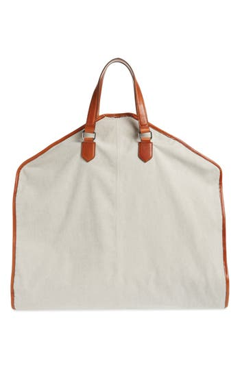 Eleventy Leather & Canvas Garment Bag
