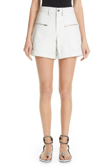 Isabel Marant Zip Detail Leather Shorts
