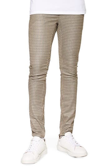Topman Skinny Fit Puppytooth Stretch Trousers