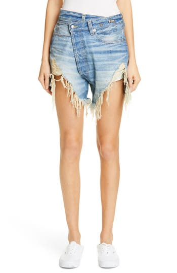 R13 Distressed Crossover Denim Shorts