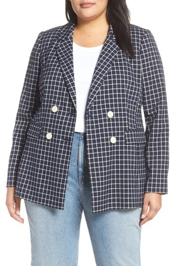 Halogen® Double Breasted Check Blazer