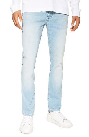 Topman Light Wash Stretch Tapered Slim Fit Jeans