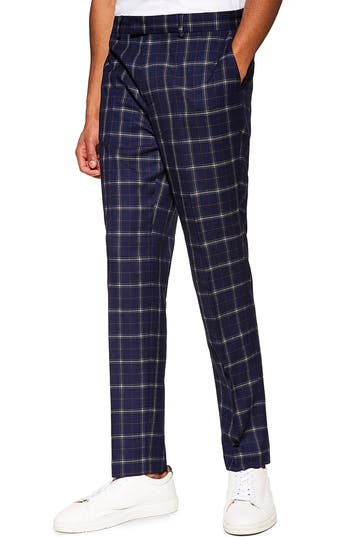 Topman Tailored Fit Check Suit Trousers