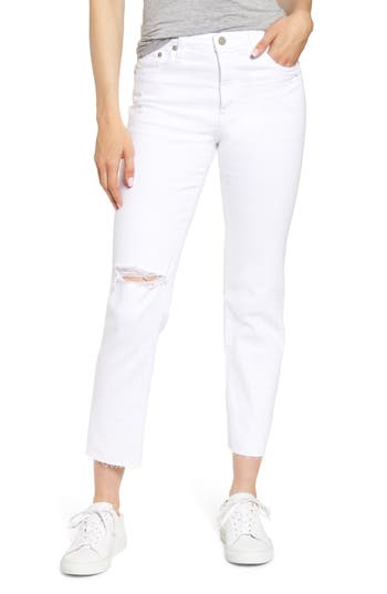 AG The Isabelle Ripped High Waist Ankle Straight Leg Jeans (1 Year Obscure White)