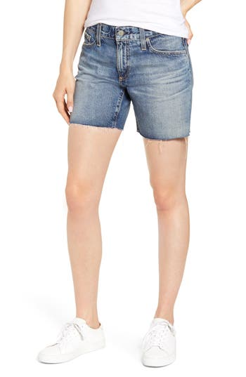 AG Becke Relaxed Fit Raw Hem Denim Cutoff Shorts (16 Years Immersed)