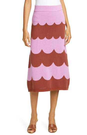 kate spade new york scallop stripe knit midi skirt