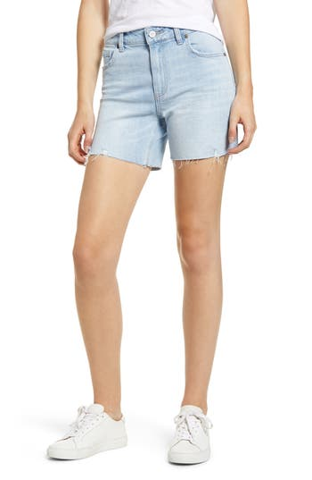 PAIGE Vintage - Sarah High Waist Slim Longline Shorts (Delaney Distressed)