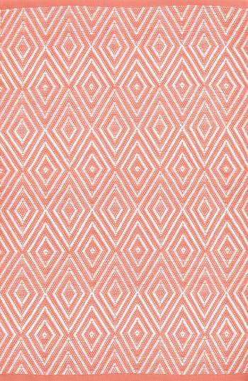 Dash & Albert Diamond Print Rug, Size Swatch - Coral