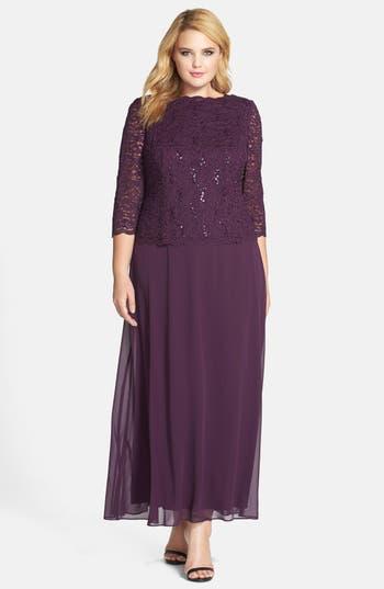Plus Size Alex Evenings Embellished Lace & Chiffon Gown, Purple