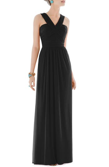 Alfred Sung Shirred Chiffon V-Neck Gown, Black