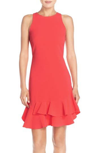 Chelsea28 Tiered Ruffle Hem Dress, Coral