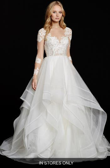 Women's Hayley Paige 'Elysia' Long Sleeve Lace & Tulle Ballgown