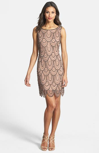 Pisarro Nights Embellished Mesh Sheath Dress, Pink