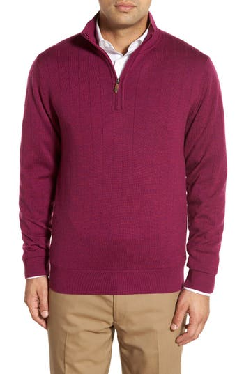 Bobby Jones Windproof Merino Wool Quarter Zip Sweater, Purple