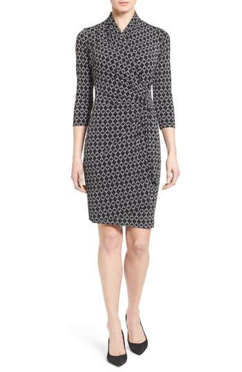 Women's Karen Kane Print Jersey Cascade Faux Wrap Dress