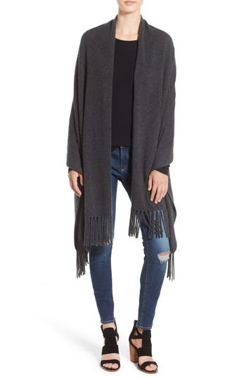 Women's Nordstrom Collection Fringe Cashmere Wrap, Size One Size - Grey