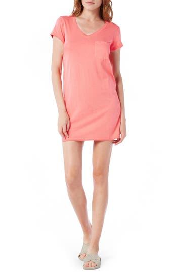 Petite Michael Stars V-Neck Jersey Minidress, Coral