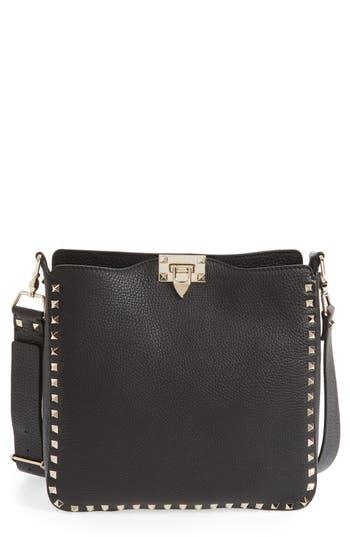 Valentino Garavani 'Vitello' Rockstud Hobo - Black at NORDSTROM.com