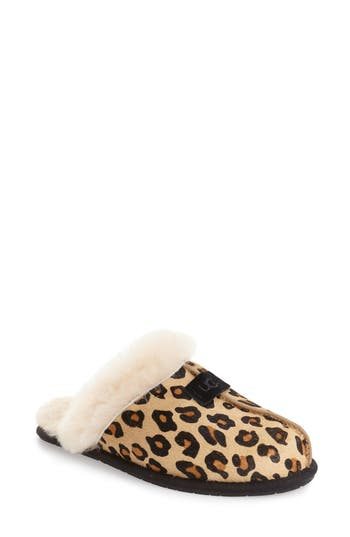 Ugg Scuffette Ii Leopard Spot Calf Hair Genuine Shearling Cuff Slipper