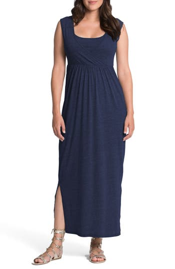 Bun Maternity Cross Top Maternity/nursing Maxi Dress, Blue