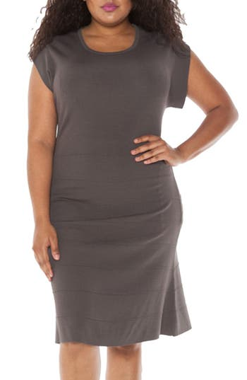 Plus Size Slink Jeans Cap Sleeve Knit A-Line Dress, Grey